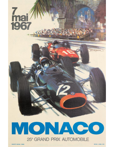 Monaco Grand Prix 1967 poster on linen VINTAGE FRENCH RACE POSTER