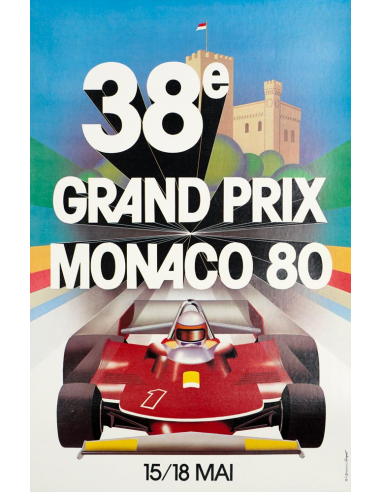 grand prix of monaco 1980 poster on linen excellent 1980 grand prix automobile of monaco on linen