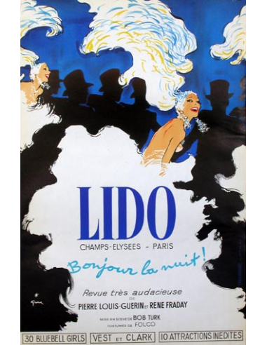 LIDO BRAVISSIMO POSTER BY RENE GRUAU ON LINEN FRENCH VINTAGE